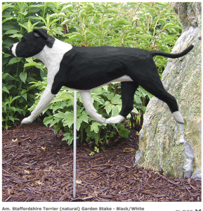 Pit Bull Statue (Black/White). Dog Statues and Garden Statues