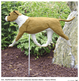 Pitbull Statue (Fawn/White). Dog Statues and Garden Statues