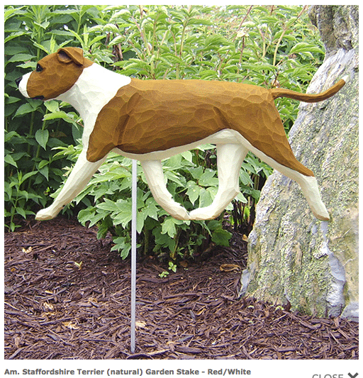 Pitbull Statue (Red/White). Dog Statues and Garden Statues