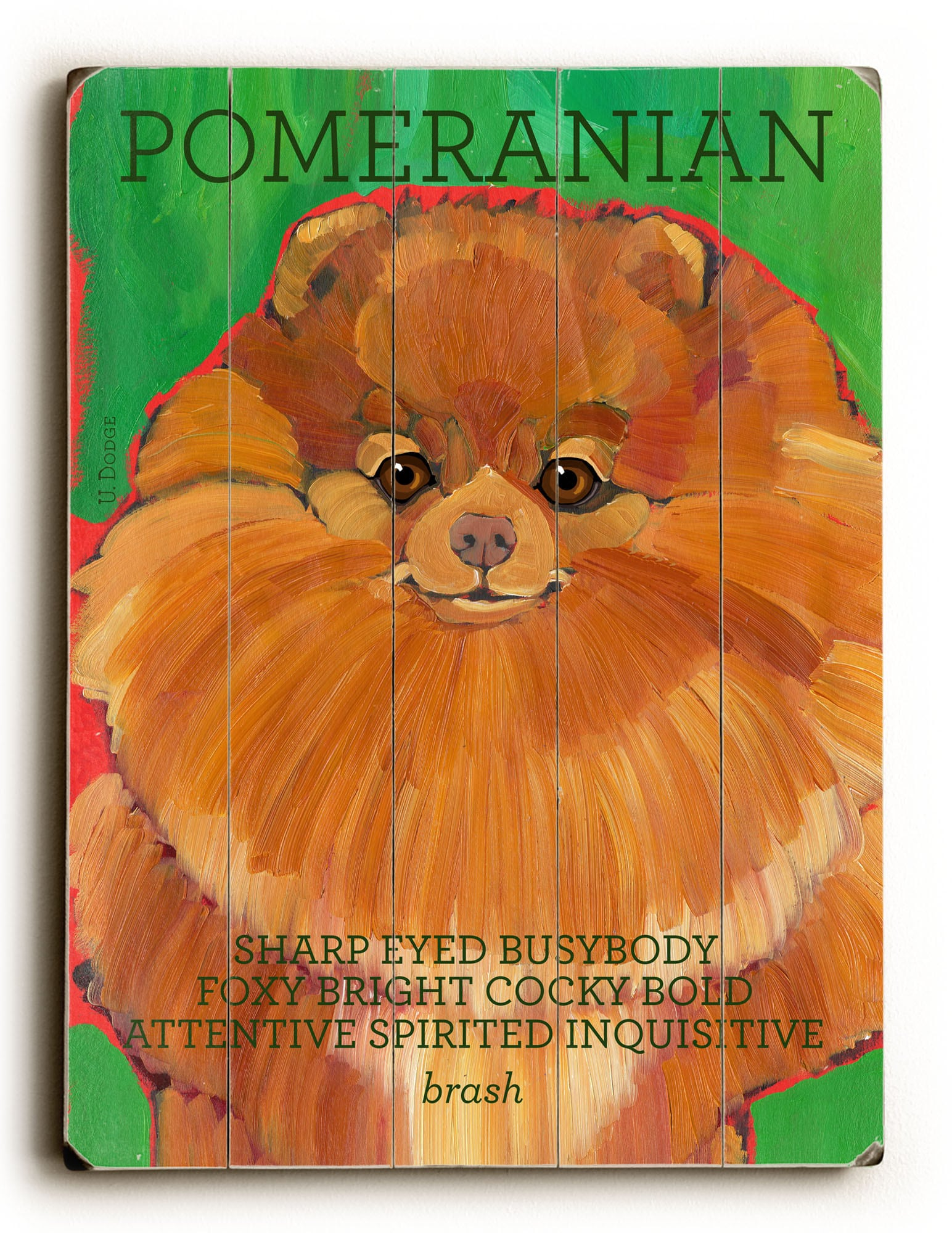 Pomeranian - Dog Picture, Dog Print, Dog Art. 'Every Dog is a Lion at Home.' - Henry George Bohn (famous dog quotes). Wall Art and Wooden Signs with Dog Pictures and Dog Quotes. Features the Pomeranian dog breed.
