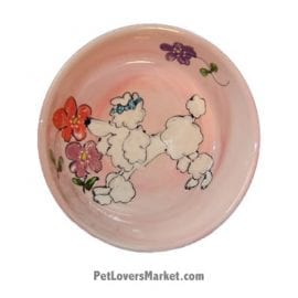 Poodle Dog Bowl (Cotton Top - White Poodle). Ceramic Dog Bowls; Designer Dog Bowls; Cute Dog Bowls. Dog Bowls are Made in USA. Hand-painted. Lead Free. Microwave Safe. Dishwasher Safe. Food Safe. Pet Safe. Design features Poodle dog breed.