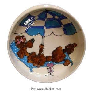 Poodle Dog Bowl (Kiki - Brown Poodle). Ceramic Dog Bowls; Designer Dog Bowls; Cute Dog Bowls. Dog Bowls are Made in USA. Hand-painted. Lead Free. Microwave Safe. Dishwasher Safe. Food Safe. Pet Safe. Design features Poodle dog breed.