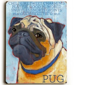 Dog Painting: Pug Pictures. Wooden Sign. Dog Print. Dog Art.
