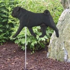 Pug Statue (Black Pug). Dog Statues and Garden Stakes