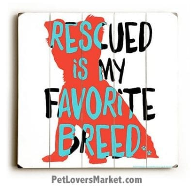 """Dog Print / Dog Sign: """"Rescued is my favorite breed"""". Dog Print on Wood for Dog Lovers of Rescue Dogs. Wooden Sign. Dog Sign. Dog Painting. Gifts for dog lovers."""