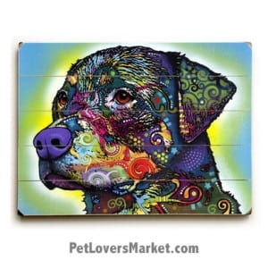 Rottweiler by Dean Russo. Dog Print / Dog Sign / Dog Art Featuring Rottweiler Dog Breed. Dean Russo Art. Wooden Sign.
