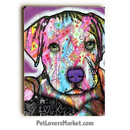 Dog Art by Dean Russo: Baby Pit Bull. Dog Print / Dog Painting by Dean Russo. Russo Art. Dog Art. Dog Pop Art. Dog Prints. Dog Sign. Wooden Sign. Print on Wood. Pit Bull dog breed.
