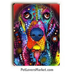 Dog Art by Dean Russo. Basset Hound Pictures. Russo Art. Basset Hound Dog Breed. Dog Print. Dog Painting. Wooden Sign.