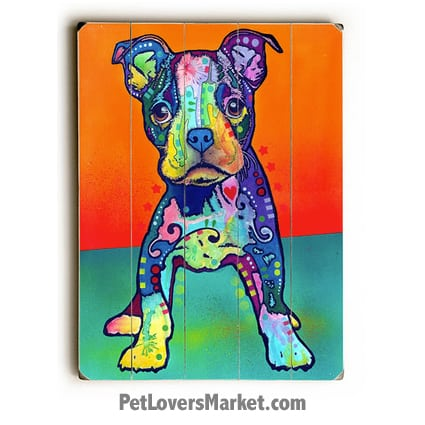 "Dog Art by Dean Russo: Boston Terrier Puppy ""On My Own"". Dog Print / Dog Painting by Dean Russo. Russo Art. Dog Art. Dog Pop Art. Dog Prints. Dog Sign. Wooden Sign. Print on Wood. Boston Terrier dog breed."