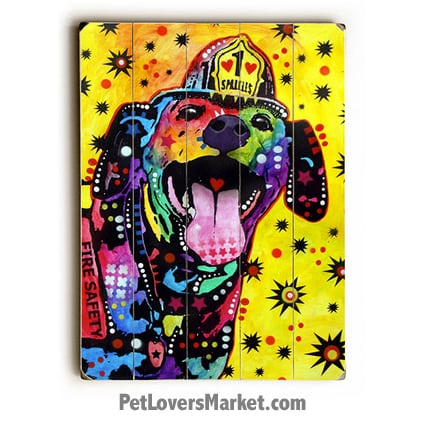 Dog Art by Dean Russo: Sparkles the Fire Dog. Dog Print / Dog Painting by Dean Russo. Russo Art. Dog Art. Dog Pop Art. Dog Prints. Dog Sign. Wooden Sign. Print on Wood. Service dogs.