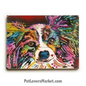 Dean Russo Papillon: Papillon Art. Dog art, dog print, dog painting, wooden sign, print on wood, wall art.
