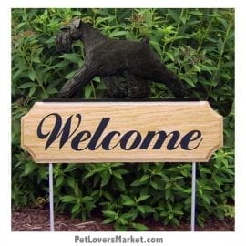 Welcome Sign with Schnauzer (Black). Welcome sign and dog sign for dog lovers. Welcome sign is perfect for home and garden decor, garden accents, outdoor accents, unique garden statues, garden statues online, best garden decor, garden stake decor, decorative garden stake, outdoor home accents, unique garden decor, outdoor home decor. Features Schnauzer dog breed.