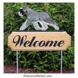 Welcome Sign with Schnauzer (Salt and Pepper). Welcome sign and dog sign for dog lovers. Welcome sign is perfect for home and garden decor, garden accents, outdoor accents, unique garden statues, garden statues online, best garden decor, garden stake decor, decorative garden stake, outdoor home accents, unique garden decor, outdoor home decor. Features Schnauzer dog breed.