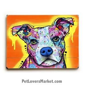 Dean Russo Pitbull: A Serious Pit. Pitbull art, dog art, dog print, dog painting, wooden sign, wall art, print on wood.