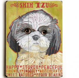 Shih Tzu - Dog signs with Dog Breeds. Gifts for Dog Lovers. Wooden sign.