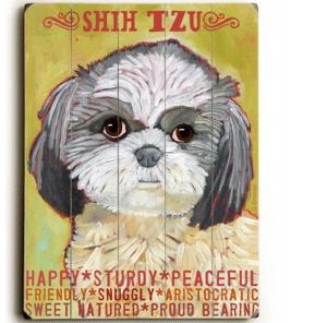 Dog Painting: Shih Tzu Pictures. Wooden Sign. Dog Print. Dog Sign.