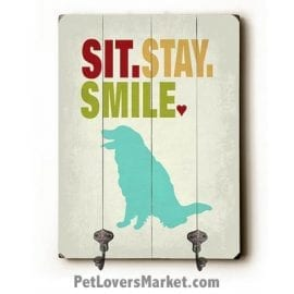 "Dog Sign with Wall Hooks for Dog Lovers: ""Sit Stay Smile"". Use as coat hooks, wall mounted coat rack, key holder, key rack, leash holder, gifts for dog lovers."