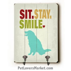 """Dog Sign with Wall Hooks for Dog Lovers: """"Sit Stay Smile"""". Use as coat hooks, wall mounted coat rack, key holder, key rack, leash holder, gifts for dog lovers."""