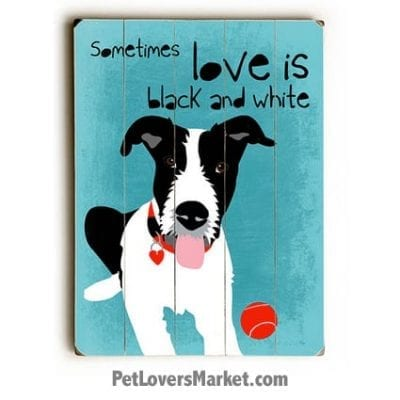 """Dog Print: """"Sometimes Love is Black and White"""". Dog Print with Dog Picture and Dog Quote. Dog Art. Dog Prints. Dog Sign. Wooden Sign. Print on Wood. Dog Quotes."""