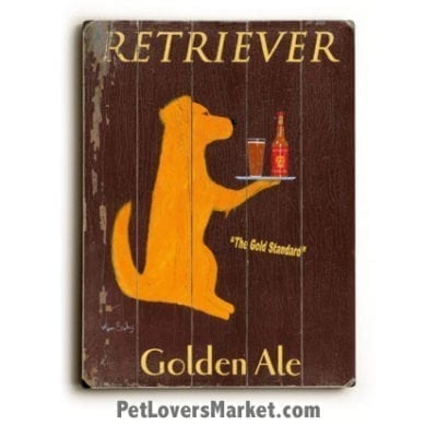 Vintage Ads: Vintage Golden Retriever (Wood Sign)