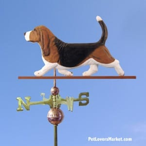 Weathervanes: Basset Hound Dog Weathervane for Roof and Garden Decor. Weathervane made in USA. Gifts for Dog Lovers.