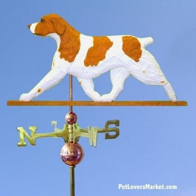 Weathervanes: Brittany Dog Weathervane for Roof and Garden Decor. Weathervane made in USA. Gifts for Dog Lovers. (Orange)