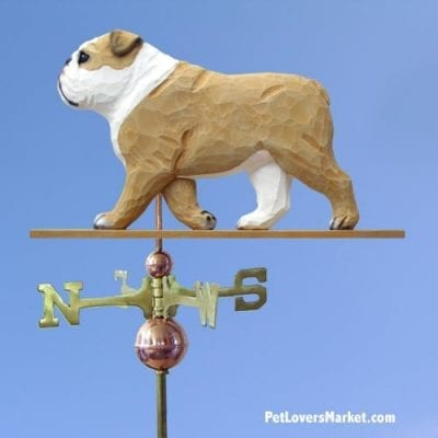 Weathervanes: English Bulldog Dog Weathervane for Roof and Garden Decor. Weathervane made in USA. Gifts for Dog Lovers. Michael Park Woodcarver.