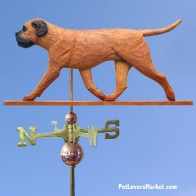 Weathervanes: Bullmastiff Dog Weathervane for Roof and Garden Decor. Weathervane made in USA. Gifts for Dog Lovers. (Red)