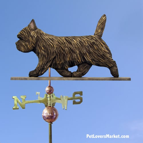 Weathervanes: Cairn Terrier Dog Weathervane for Roof and Garden Decor. Weathervane made in USA. Gifts for Dog Lovers. (Black Brindle)