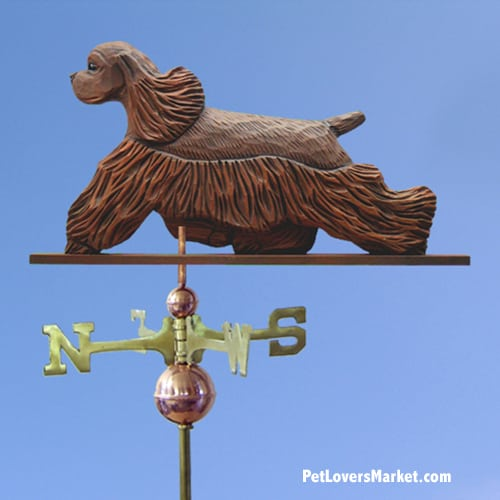 Weathervanes: Cocker Spaniel Dog Weathervane for Roof and Garden Decor. Weathervane made in USA. Gifts for Dog Lovers. Michael Park Woodcarver.