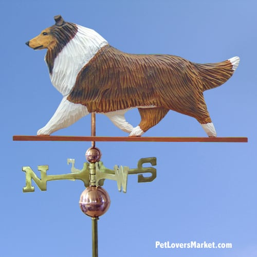 Weathervanes: Collie Dog Weathervane for Roof and Garden Decor. Weathervane made in USA. Gifts for Dog Lovers. (Sable)
