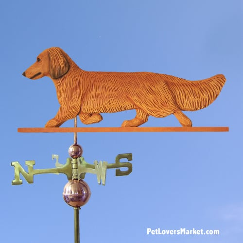 Weathervanes: Dachshund (long-haired) Dog Weathervane for Roof and Garden Decor. Weathervane made in USA. Gifts for Dog Lovers. (Red)