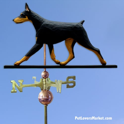 Weathervanes: Doberman Dog Weathervane for Roof and Garden Decor. Weathervane made in USA. Gifts for Dog Lovers. (Black/Tan)