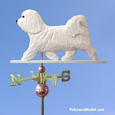 Weathervanes: Havanese Dog Weathervane for Roof and Garden Decor. Weathervane made in USA. Gifts for Dog Lovers. Michael Park Woodcarver.