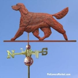 Weathervanes: Irish Setter Weathervane for Roof and Garden Decor. Weathervane made in USA. Gifts for Dog Lovers. Michael Park Woodcarver.