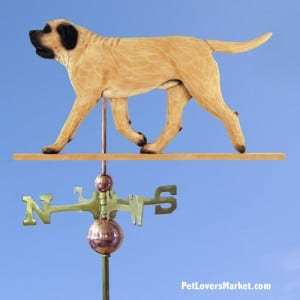 Weathervanes: Mastiff Dog Weathervane for Roof and Garden Decor. Weathervane made in USA. Gifts for Dog Lovers. Michael Park Woodcarver.