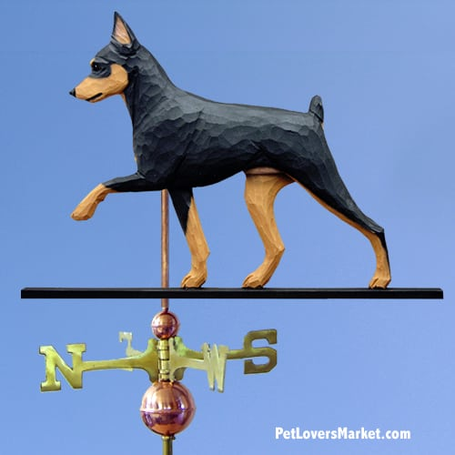 Weathervanes: Miniature Pinscher Dog Weathervane for Roof and Garden Decor. Weathervane made in USA. Gifts for Dog Lovers. Michael Park Woodcarver.
