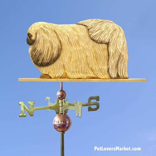 Weathervanes: Pekingese Dog Weathervane for Roof and Garden Decor. Weathervane made in USA. Gifts for Dog Lovers. Michael Park Woodcarver.