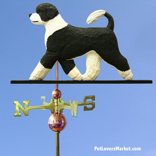 Weathervanes: Portuguese Water Dog Weathervane for Roof and Garden Decor. Weathervane made in USA. Gifts for Dog Lovers. Michael Park Woodcarver.