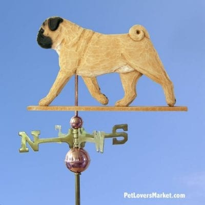 Weathervanes: Pug Dog Weathervane for Roof and Garden Decor. Weathervane made in USA. Gifts for Dog Lovers. Michael Park Woodcarver.