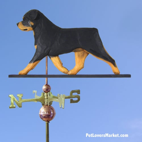 Weathervanes: Rottweiler Dog Weathervane for Roof and Garden Decor. Weathervane made in USA. Gifts for Dog Lovers. Michael Park Woodcarver.
