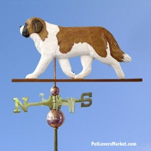 Weathervanes: St. Bernard Dog Weathervane for Roof and Garden Decor. Weathervane made in USA. Gifts for Dog Lovers. Michael Park Woodcarver.