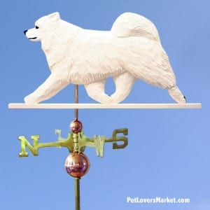 Weathervanes: Samoyed Dog Weathervane for Roof and Garden Decor. Weathervane made in USA. Gifts for Dog Lovers. Michael Park Woodcarver.