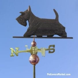 Weathervanes: Scottish Terrier Dog Weathervane for Roof and Garden Decor. Weathervane made in USA. Gifts for Dog Lovers. Michael Park Woodcarver.