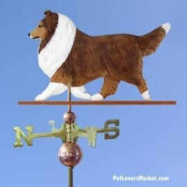 Weathervanes: Shetland Sheepdog Dog Weathervane for Roof and Garden Decor. Weathervane made in USA. Gifts for Dog Lovers. Michael Park Woodcarver.