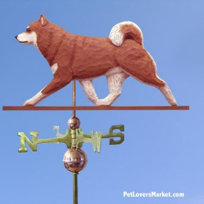 Weathervanes: Shiba Inu Dog Weathervane for Roof and Garden Decor. Weathervane made in USA. Gifts for Dog Lovers. Michael Park Woodcarver.