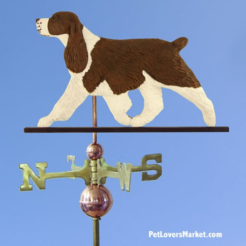 Weathervanes: Springer Spaniel Dog Weathervane for Roof and Garden Decor. Weathervane made in USA. Gifts for Dog Lovers. Michael Park Woodcarver.