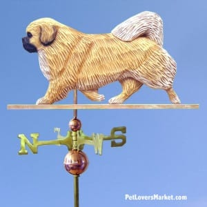 Weathervanes: Tibetan Spaniel Dog Weathervane for Roof and Garden Decor. Weathervane made in USA. Gifts for Dog Lovers. Michael Park Woodcarver.
