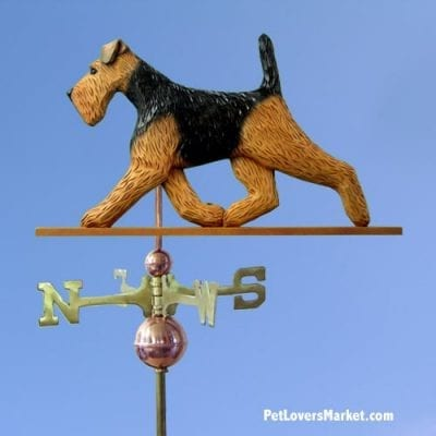 Weathervanes: Welsh Terrier Dog Weathervane for Roof and Garden Decor. Weathervane made in USA. Gifts for Dog Lovers. Michael Park Woodcarver.