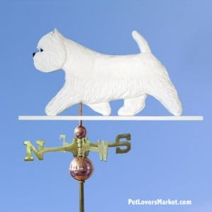 Weathervanes: West Highland White Terrier Dog Weathervane for Roof and Garden Decor. Weathervane made in USA. Gifts for Dog Lovers. Michael Park Woodcarver.